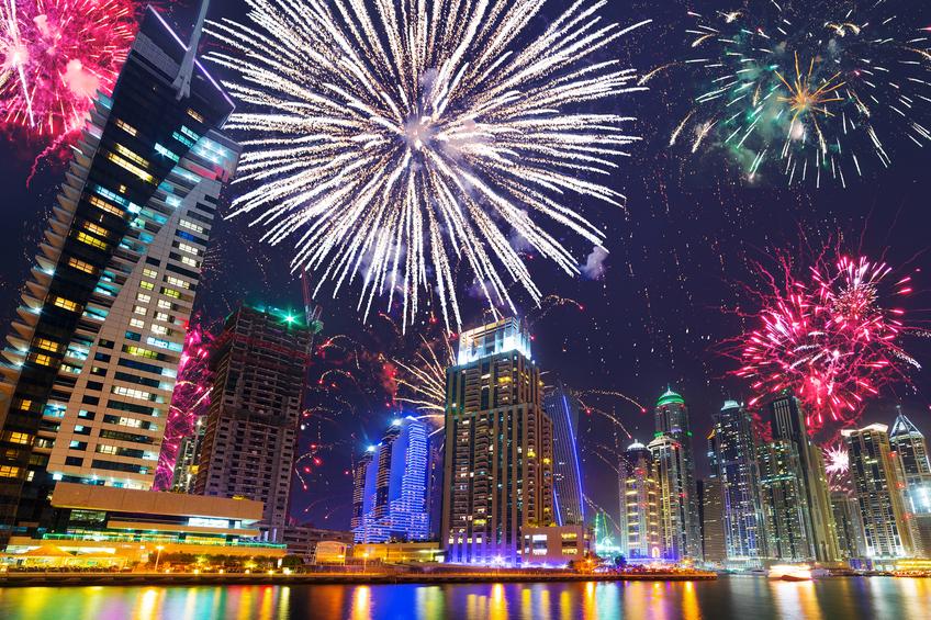 NSpetttacolo di fuochi di artificio per Capodanno a Dubai. UAE