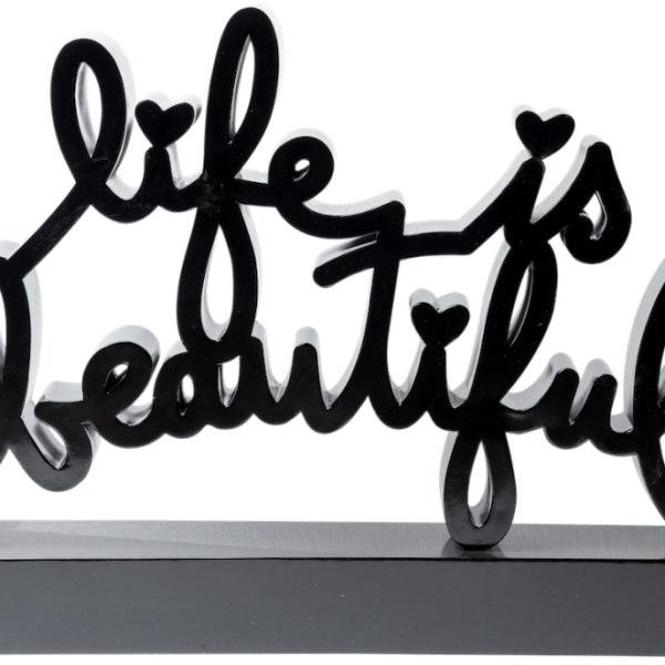 Mr.Brainwash-Life_is_beautiful_black-Enameled_steel_sculpture-106x178x30cm-2019
